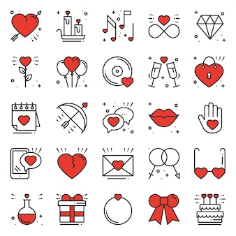 Set di icone della linea di amore