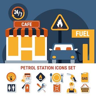 Set di icone della pompa del carburante