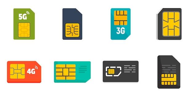 Set di icone della scheda telefono sim