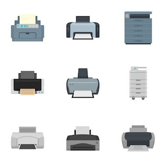 Set di icone della stampante. set piatto di 9 icone vettoriali di stampante