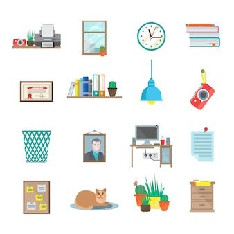 Set di icone della stanza sul posto di lavoro