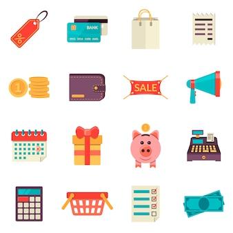 Set di icone dello shopping piatte. icone di vendita vettoriale