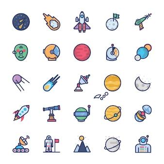 Set di icone dello spazio piatto