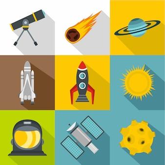 Set di icone dello spazio, stile piano