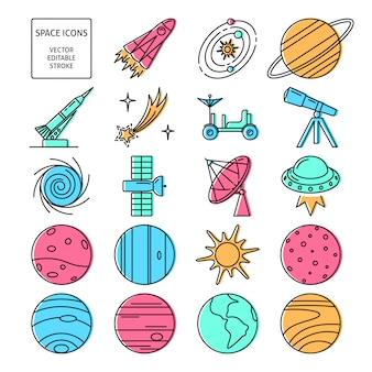 Set di icone dello spazio