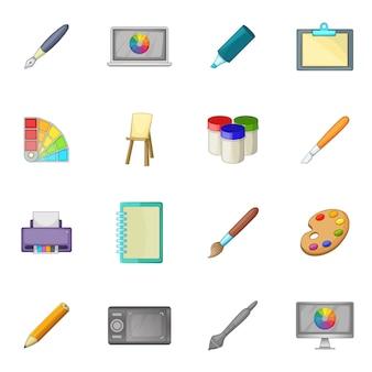 Set di icone dello strumento disegno e pittura