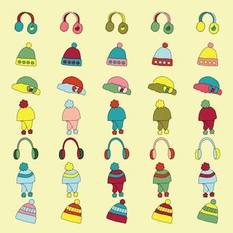 Set di icone di abbigliamento invernale / vestiti. illustrazione vettoriale