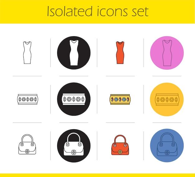 Set di icone di accessori da donna