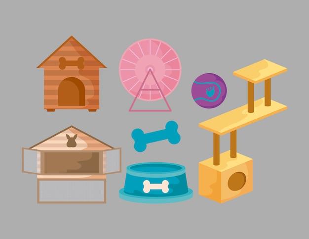 Set di icone di accessori per animali domestici