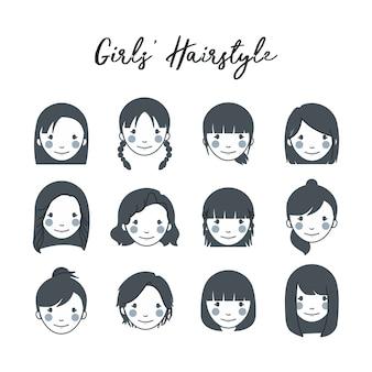 Set di icone di acconciatura della ragazza