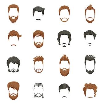 Set di icone di acconciatura maschile
