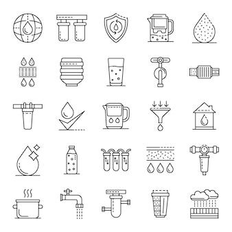 Set di icone di acqua di filtro. insieme del profilo delle icone di vettore dell'acqua del filtro