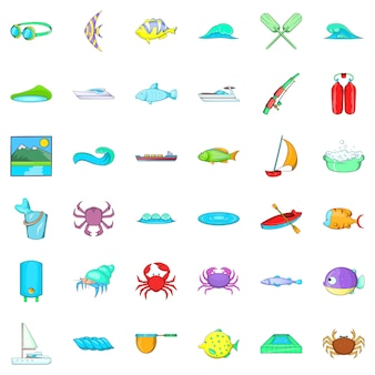 Set di icone di acqua pulita, stile cartoon