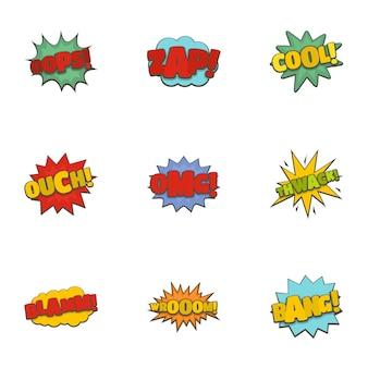 Set di icone di adesivo. un insieme del fumetto di 9 icone dell'autoadesivo