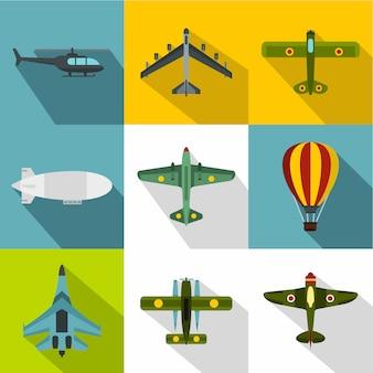 Set di icone di aeromobili, stile piano
