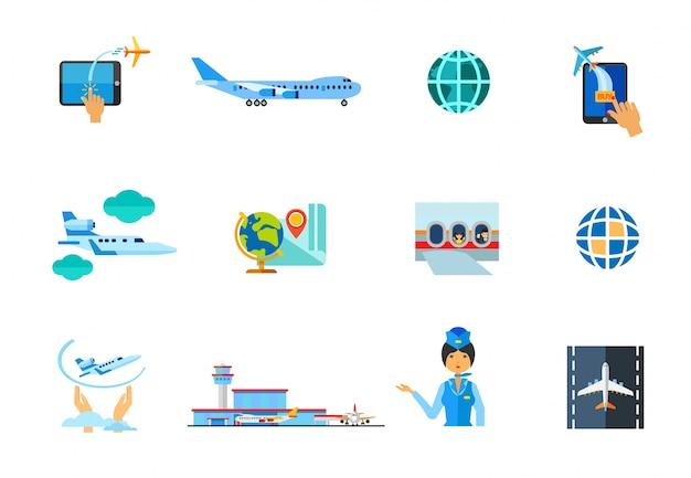 Set di icone di aeroplano