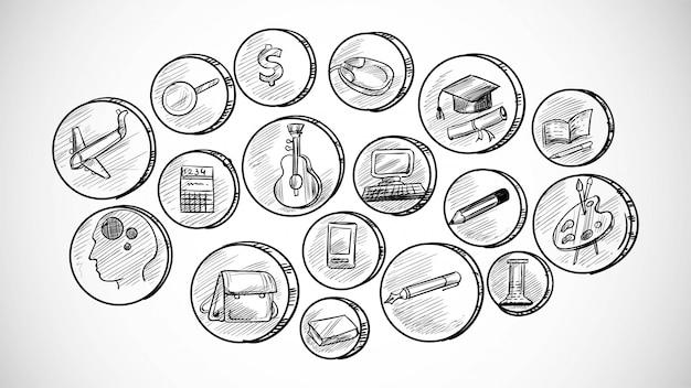 Set di icone di affari disegnati a mano