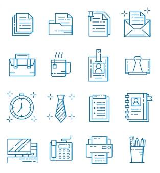 Set di icone di affari e ufficio con struttura di stile