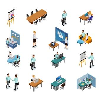 Set di icone di affari isometrica