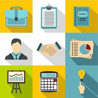 Set di icone di affari, stile piano