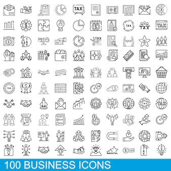 Set di icone di affari, struttura di stile