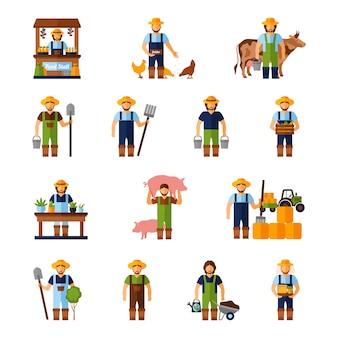 Set di icone di agricoltori