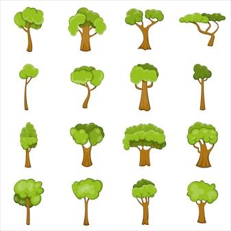 Set di icone di alberi verdi