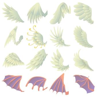 Set di icone di ali diverse