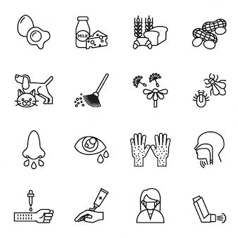Set di icone di allergia