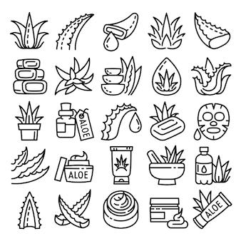 Set di icone di aloe, struttura di stile