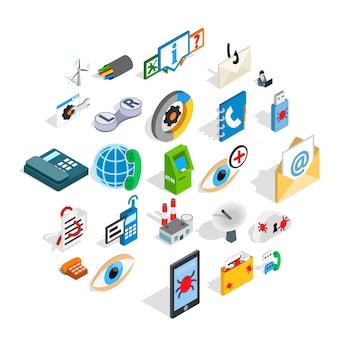 Set di icone di alta tecnologia, stile isometrico
