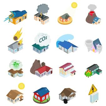 Set di icone di ambiente pericoloso