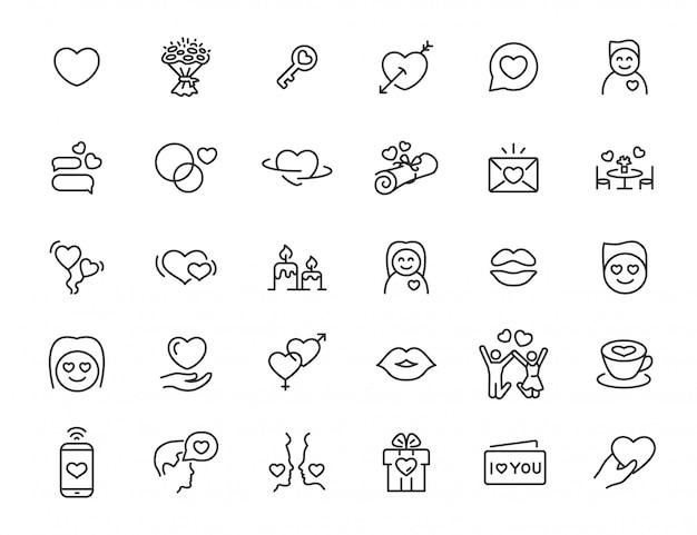 Set di icone di amore lineare. icone di relazione in un design semplice. illustrazione vettoriale