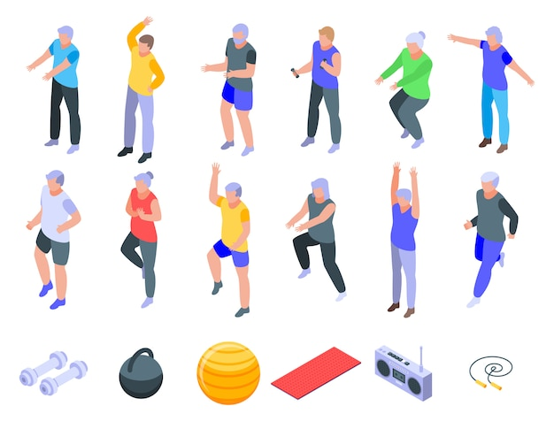 Set di icone di anziani di allenamento, stile isometrico
