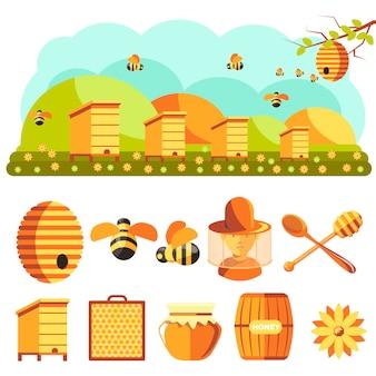 Set di icone di apicoltura: miele, ape