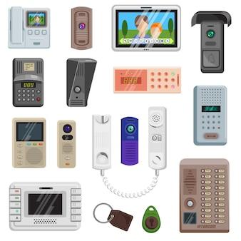 Set di icone di apparecchiature di comunicazione sulla porta vettoriale interfono