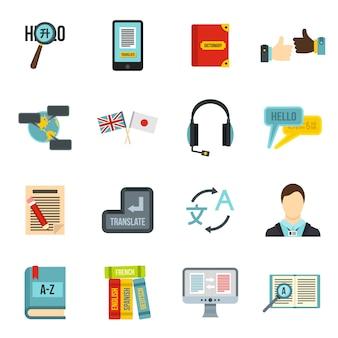 Set di icone di apprendimento delle lingue straniere