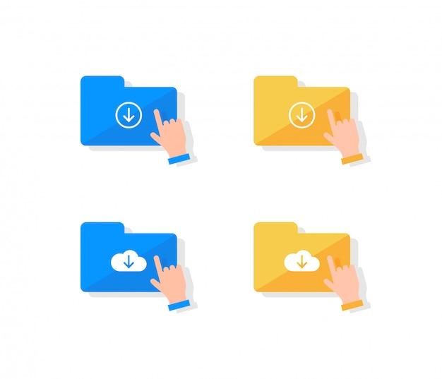 Set di icone di archiviazione cloud.