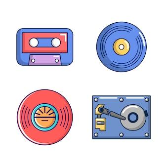 Set di icone di archiviazione informazioni. l'insieme del fumetto delle icone di vettore di stoccaggio di informazioni ha messo isolato