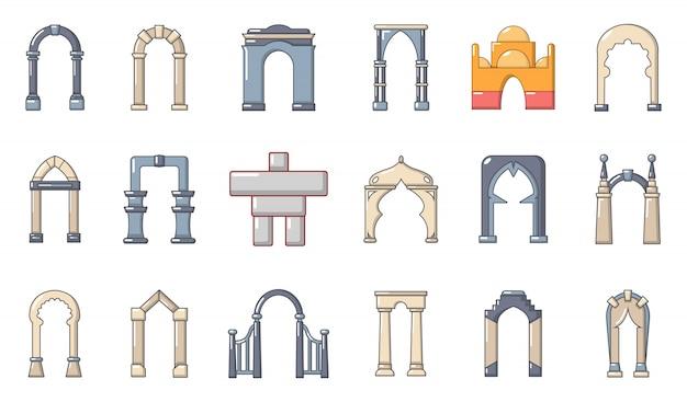 Set di icone di arco. l'insieme del fumetto delle icone di vettore dell'arco ha messo isolato