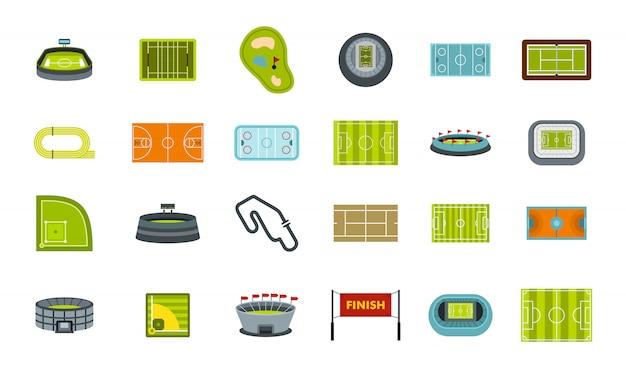 Set di icone di arena sportiva. insieme piano della raccolta delle icone di vettore dell'arena dello sport isolato