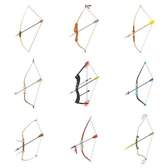 Set di icone di arma freccia arco. un'illustrazione isometrica di 9 icone di vettore dell'arma della freccia dell'arco per il web
