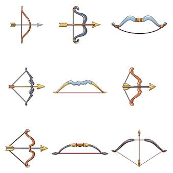 Set di icone di arma freccia arco