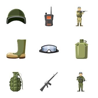Set di icone di armi, stile cartoon