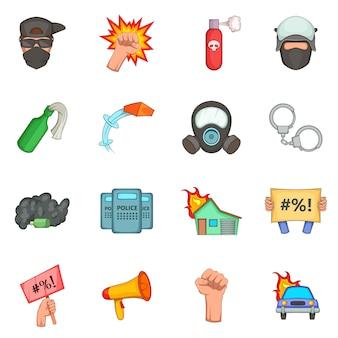 Set di icone di articoli di protesta
