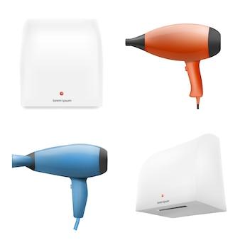 Set di icone di asciugatrice, stile realistico