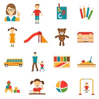 Set di icone di asilo