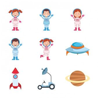 Set di icone di astronauti dei cartoni animati