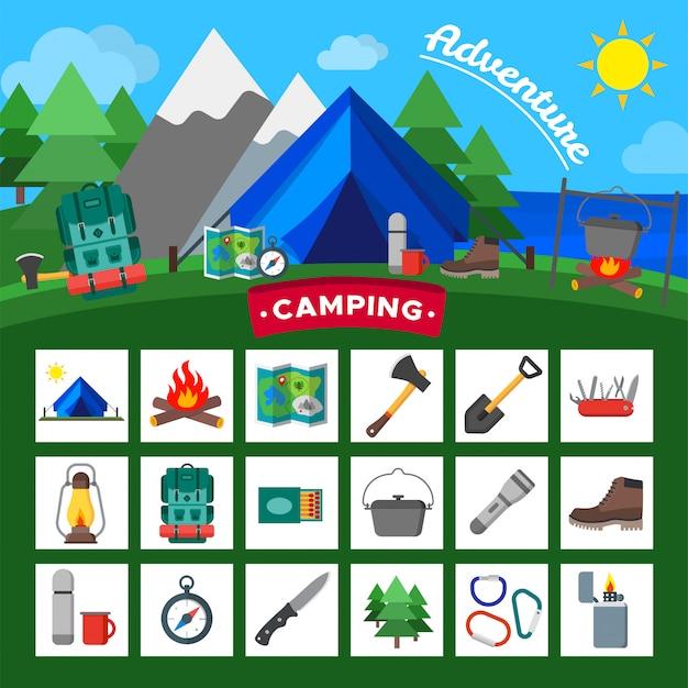 Set di icone di attività all'aperto di campeggio. raccolta dell'attrezzatura del campo turistico.