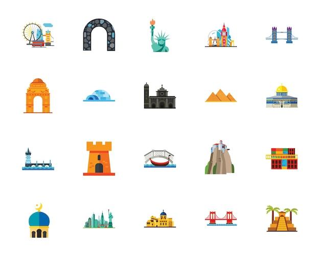 Set di icone di attrazioni